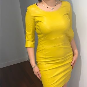 Faux Leather yellow evening dress